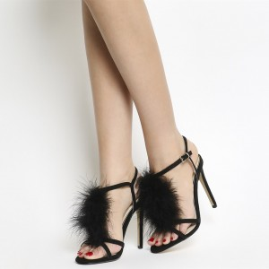 Black Fur Heels Suede Open Toe T Strap Stiletto Heel Sandals