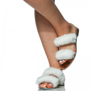 White Furry Women's Slide Sandals Open Toe Flats