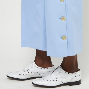 White Hollow Out Lace Up Women's Oxfords
