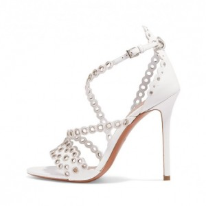 White Hollow Out Stiletto Heels Sandals