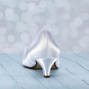 Women's White Satin Front Bow Kitten Heel Bridal Shoes