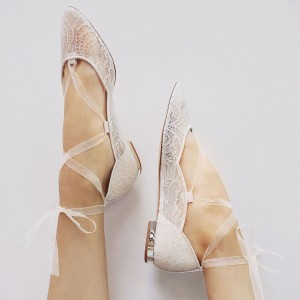 White Lace Almond Toe Cross Over Comfortable Flats