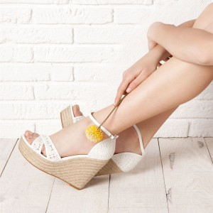 White Lace Ankle Strap Wedge Sandals with Platform