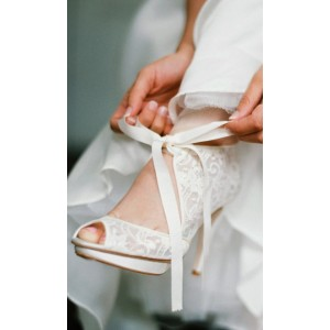 Ivory Wedding Shoes Lace Heels Peep Toe Tie up Pumps with Platform