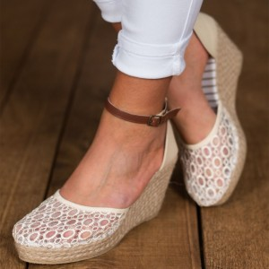 White Lace Espadrille Wedges Platform Ankle Strap Pumps