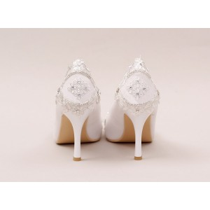 White Bridal Heels Rhinestone Satin Pointy Toe Lace Pumps