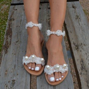 White Lace Pearl Flat Bridal Sandals