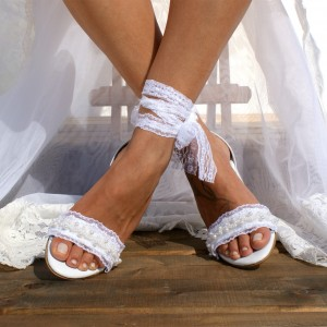 White Lace Strappy Block Heel Wedding Sandals