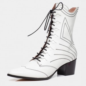 White Lace up Boots Pointy Toe Chunky Heel Ankle Boots