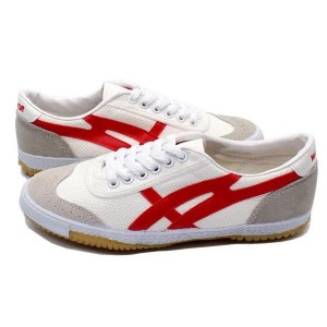 White and Red Lace up Hui Li Sneaker