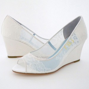 Women's White Peep Toe Lace Wedge Heel Pumps Wedding Shoes