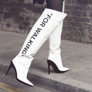 White Letter Fashion High Heel Boots Pointy Toe Stilettos Knee Boots