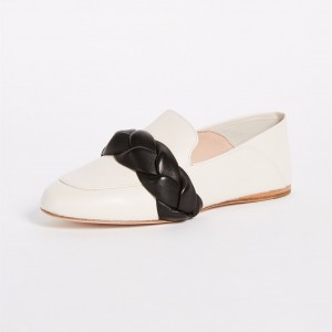 White Loafers for Women Round Toe Weave Comfortable Flats