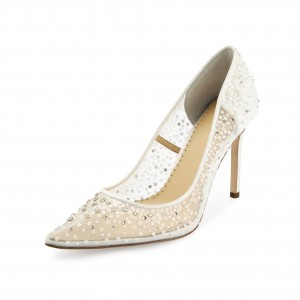 White Mesh Rhinestones Sequined Stiletto Heels Wedding Pumps