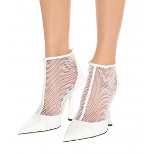 White Nets Patent Leather Fashion Boots Chunky Heel Ankle Boots