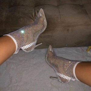 White Nets Rhinestone Ankle Booties