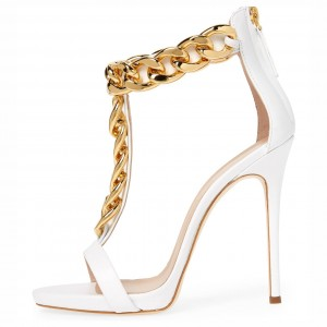 White Open Toe Chains Stiletto Heel T Strap Sandals