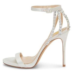White Satin Bridal Heels Rhinestone Ankle Strap High Heel Sandals