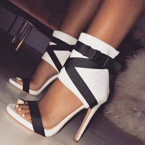 White Open Toe Sandals Stiletto Heels Sexy Shoes for Office Lady