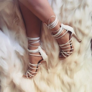 White Open Toe Slingback Strappy Sandals Sexy Stiletto Heel Sandals