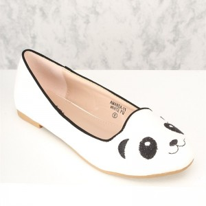 White Panda Embroidery Comfortable Flats Cute Shoes for Women
