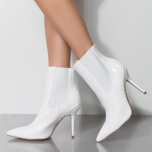 White Patent Leather Chelsea Boots Stiletto Heel Ankle Boots