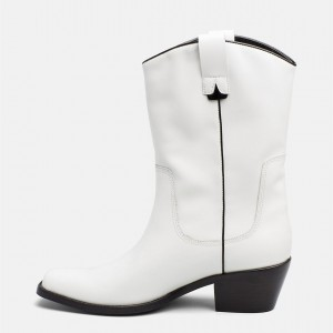 White Western Boots Vegan Leather Chunky Heel Mid Calf Boots