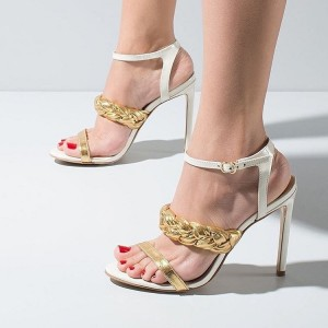 White Patent Leather Gold Strap Stiletto heels Sandals