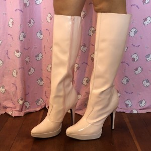 White Patent Leather Stiletto Boots Platform Zipper Knee High Boots