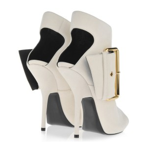 Women's White Peep Toe Heels Slingback Shoes Ankle Fashion Boots