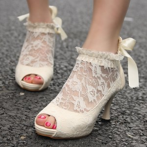 White Peep Toe Platform Lace Bow Spool Heel Bridal Shoes