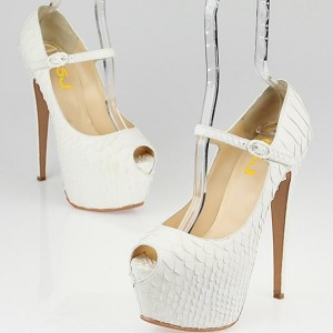 White Python Platform Heel Mary Jane Pumps Stilettos Stripper Shoes