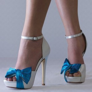 White Peep Toe Stiletto Heels Ankle Strap Sandals with Satin Blue Bow