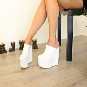 White Platform Wedge Heels Mule Pumps
