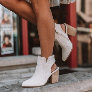 White Pointed Toe Cut Out Chunky Heel Boots Ankle Boots