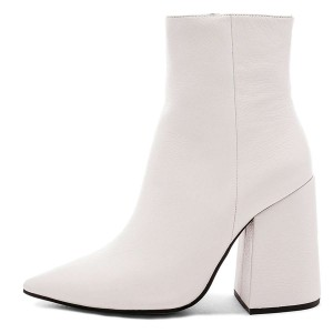 White Pointy Toe Block Heel Boots with Zip