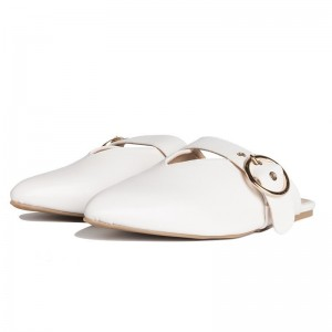 White Pointy Toe Flats Mule Sandals Comfortable Flats with Buckle