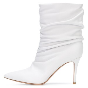 White Pointy Toe Stiletto Boots Fashion Slouch Boots