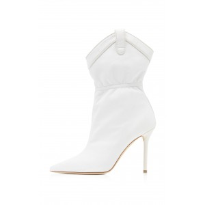 White Pointy Toe Stiletto Heel Fashion Boots