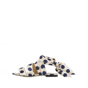 White Polka Dot Comfortable Flats Strappy Sandals