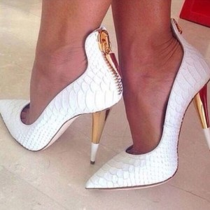 White Python Pointy Toe Office Heels Cone Heel Pumps