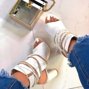 White Python Open Toe Boots Chunky Heel Chains Slingback Ankle Booties