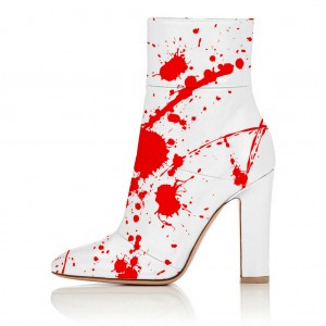 White Red Blood Chunky Heel Boots Ankle Boots for Halloween