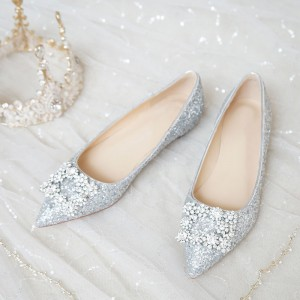 White Glitter Shoes Rhinestone Buckle Pointed Toe Flats