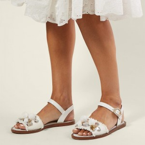 White Rhinestone Coin Ball Flat Sandals