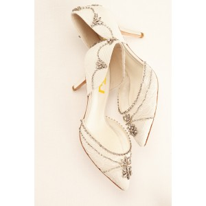 Lace Ivory Wedding Shoes Rhinestone Low Heel Bridal Shoes