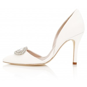 White Rhinestone Double Dorsay Stiletto Heels Pumps