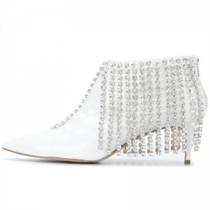 White Rhinestone Fringe Ankle Booties Pointy Toe Kitten Heels Boots