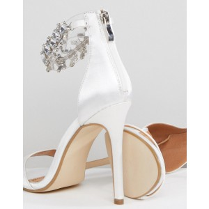 White Satin Bridal Heels Stilettos Rhinestone Ankle Strap Sandals