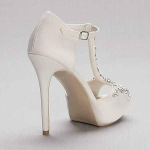 White Rhinestone Wedding Shoes T Strap Platform Sandals